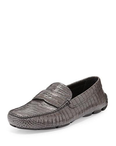 Crocodile Embossed Loafer, Gray