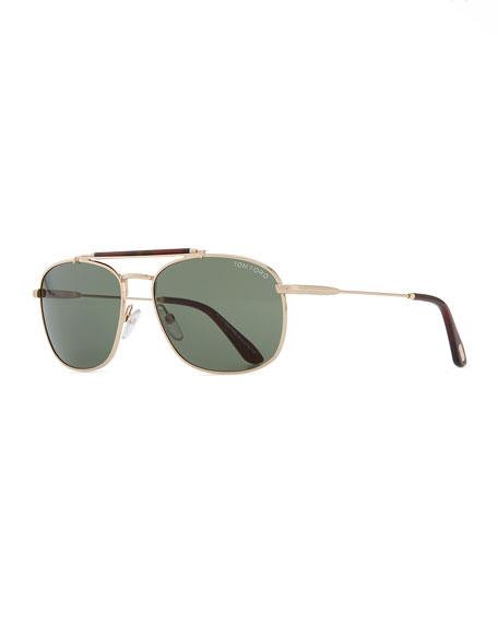 Marlon Metal Navigator Sunglasses, Rose Gold