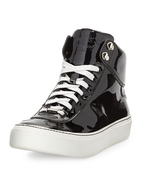 68f1a99387a0 Jimmy Choo Argyle Men s Patent Leather High-Top Sneaker