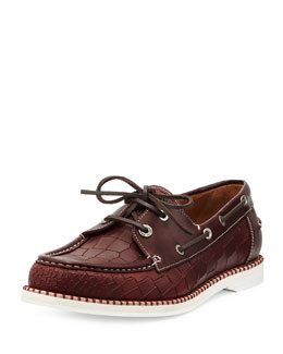 Jimmy Choo Danby Men's Croc-Embossed Boat Shoe