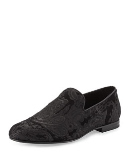 Jimmy Choo Sloane Paisley-Jacquard Slipper, Black