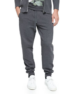 Dolce & Gabbana Zip-Pocket Sweatpants, Melange Gray