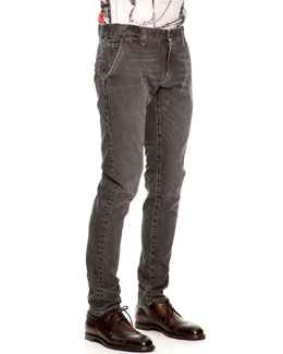Dolce & Gabbana Faded & Distressed Jeans, Black