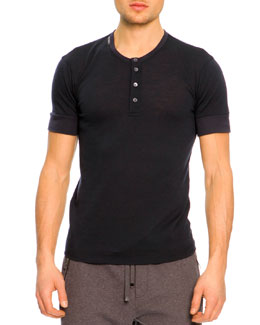 Dolce & Gabbana Short-Sleeve Henley Shirt, Navy