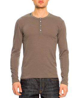 Dolce & Gabbana Long Sleeve Henley Shirt, Olive