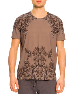 Dolce & Gabbana Short-Sleeve Baroque-Print Tee, Brown
