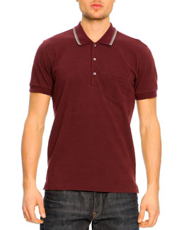 Dolce & Gabbana Short-Sleeve Striped Collar Polo Shirt, Burgundy