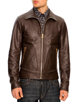 Dolce & Gabbana Leather Bomber Jacket, Dark Brown