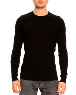 Dolce & Gabbana Ribbed Crewneck Sweater, Black