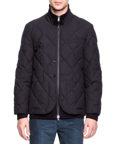 Quilted Wool Layer-Illusion Jacket, Navy