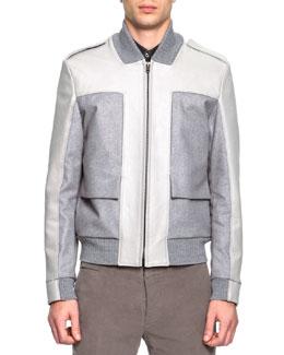 Mixed Media Bomber Jacket, Gray