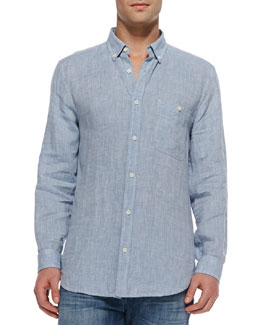 7 For All Mankind Linen Button-Down Shirt, Light Blue