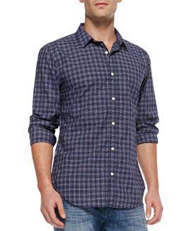7 For All Mankind Mini-Plaid Button-Down Shirt, Navy