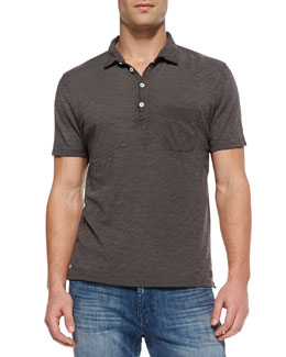7 For All Mankind Burnout Slub Polo, Gray