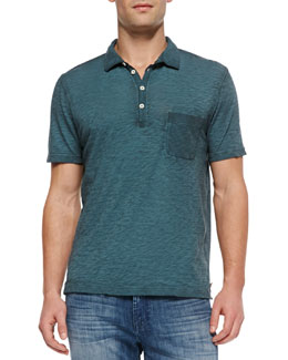 7 For All Mankind Burnout Slub Polo, Teal