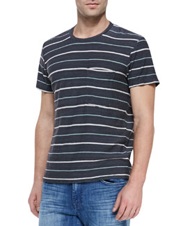 7 For All Mankind Short-Sleeve Striped Crewneck T-Shirt, Charcoal/Multicolor
