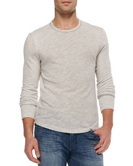 7 For All Mankind Long-Sleeve Crewneck Tee, Gray