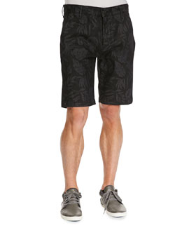 7 For All Mankind Laser-Floral Chino Shorts, Black
