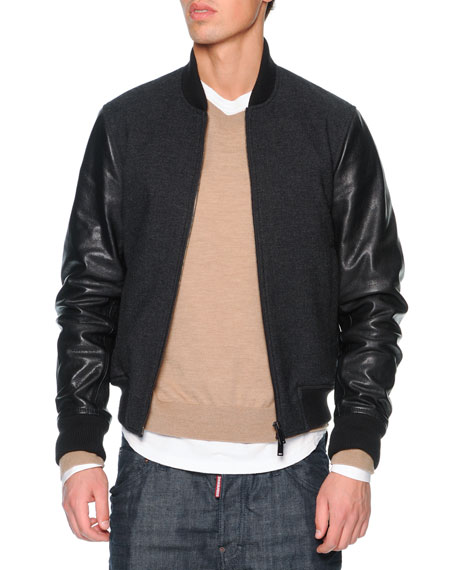 33dd2278126 Dsquared2 Wool Bomber Jacket with Leather Sleeves