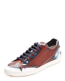 Fendi Runway Men's Brushed Low-Top Sneaker, Red