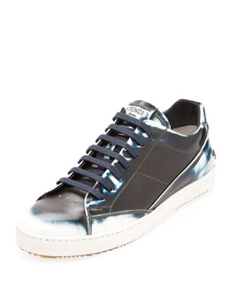 Fendi Runway Men's Brushed Low-Top Sneaker, Blue