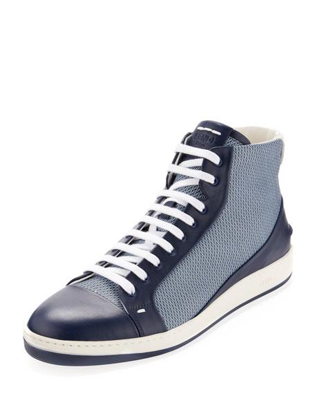 Fendi Men's Mini-Zucca Leather High-Top Sneaker, Blue
