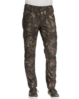 J Brand Jeans Trooper Camo Cargo Twill Pants, Tumbled Newberry