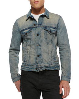 J Brand Jeans Lowell Stretch-Denim Jacket, Rhodes