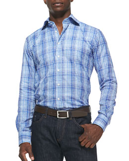 Etro Check with Paisley Sport Shirt, Blue