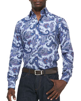 Etro Textured Paisley Sport Shirt, Light Blue