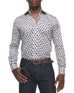 Etro Pine & Medallion-Print Sport Shirt, Ivory/Purple