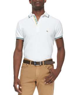 Etro Tipped Short-Sleeve Polo, White