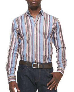 Etro Stripe with Tonal-Paisley Sport Shirt, Blue/Burgundy