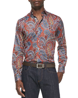 Etro Large-Paisley-Print Sport Shirt, Orange Multi
