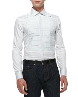 Square-Jacquard Tuxedo Shirt, White