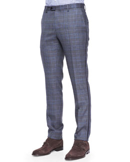 Etro Grosgrain-Trim Check Pants