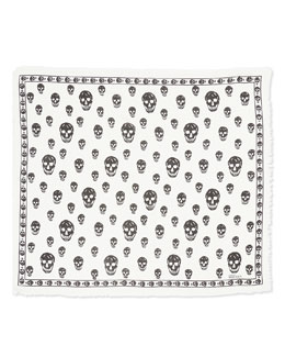 Men's Skull-Print Shawl, Black/Ivory