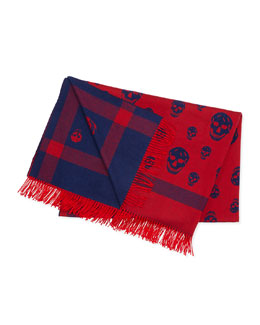 Wool Skull-Print Blanket, Blue/Red