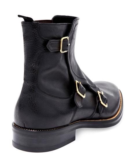 Triple-Monk-Strap Leather Boot, Black