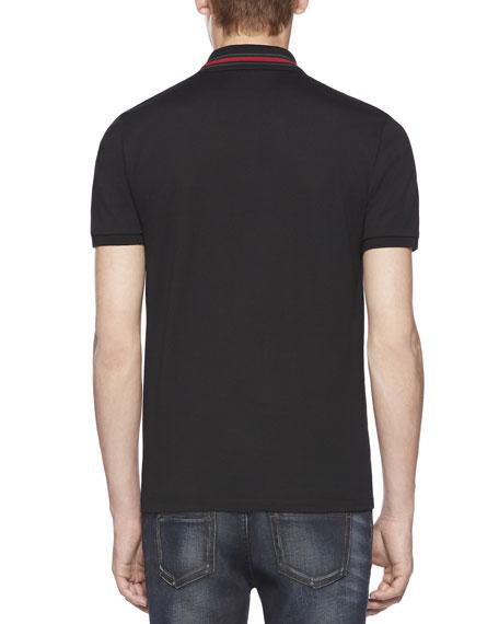 Cotton-Jersey Polo T-Shirt, Black