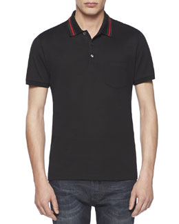 Cotton-Jersey Polo Tee, Black