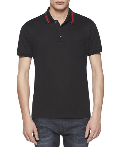 Cotton-Jersey Polo Tee, Black