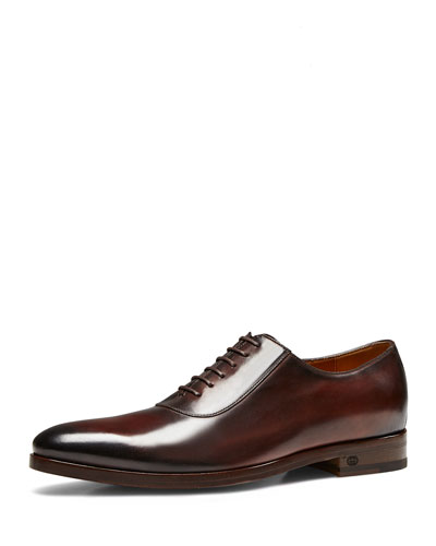Leather Lace-Up Shoe, Cocoa