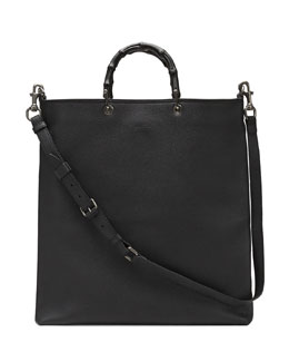 Convertible Leather Tote Bag, Black