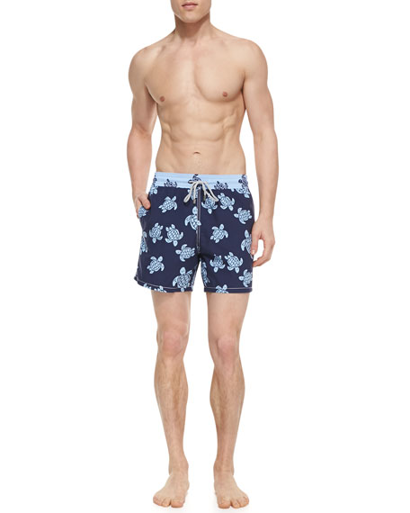 Moorea Turtle Motif Swim Trunks, Navy