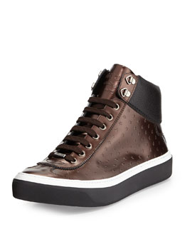 Jimmy Choo Argyle Men's Star Metallic Leather Trainer, Burgundy