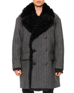 Dolce & Gabbana Herringbone Shearling Double-Breasted Coat