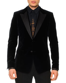 Dolce & Gabbana Velvet Evening Jacket with Suede Lapels, Navy