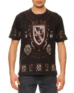 Dolce & Gabbana Shield-Print Jersey Tee, Dark Gray