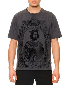 Dolce & Gabbana Flecked King-Graphic Tee, Dark Gray